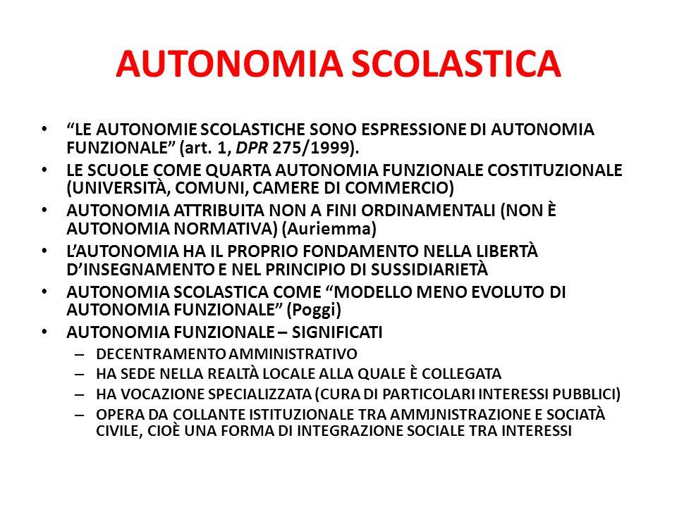 AUTONOMIA SCOLASTICA LE AUTONOMIE SCOLASTICHE SONO ESPRESSIONE DI AUTONOMIA FUNZIONALE (art.