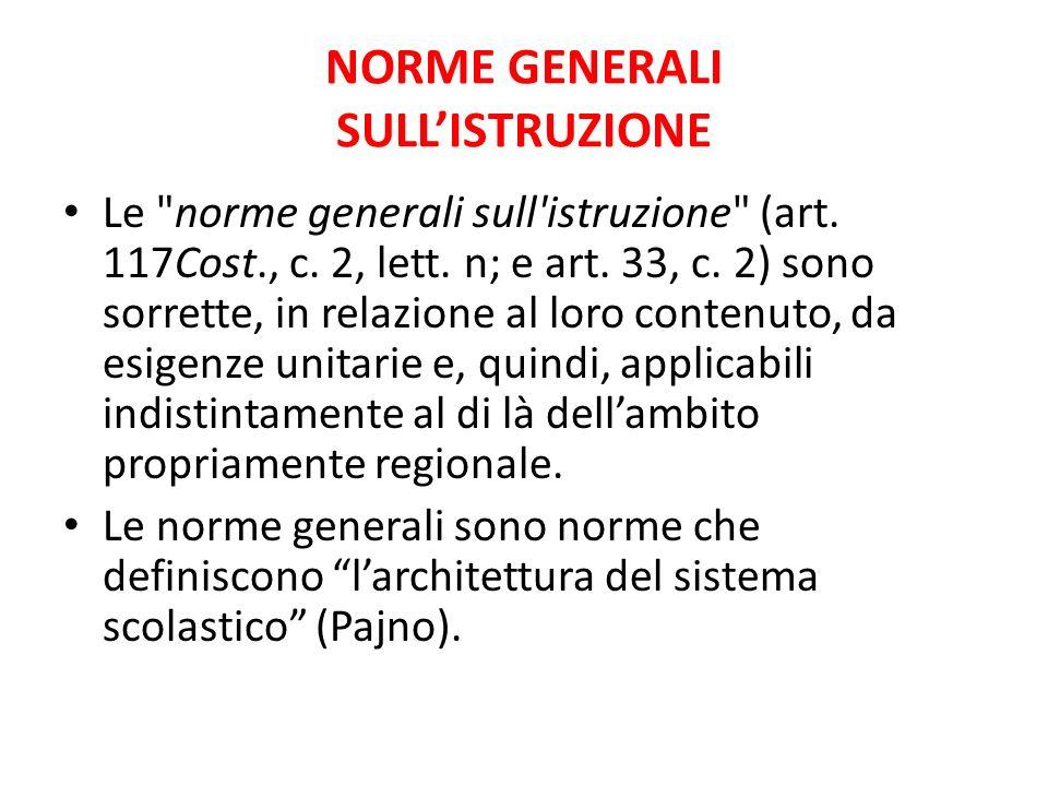 NORME GENERALI SULLISTRUZIONE Le norme generali sull istruzione (art.