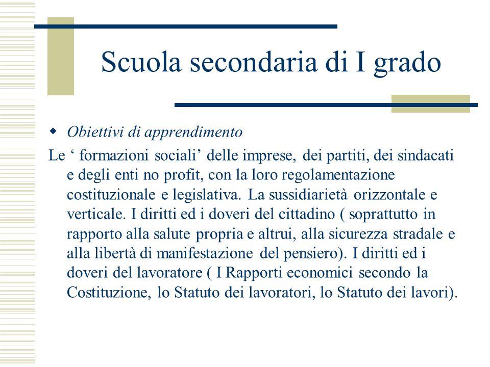 Scuola secondaria di I grado Obiettivi di apprendimento Le formazioni sociali delle imprese, dei partiti, dei sindacati e degli enti no profit, con la
