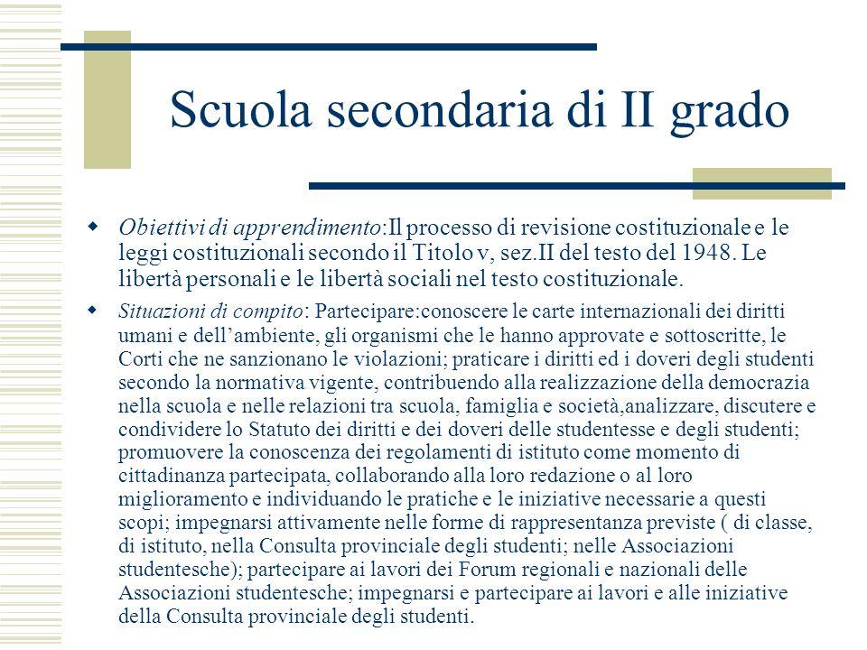Scuola secondaria di II grado Obiettivi di apprendimento:Il processo di revisione costituzionale e le leggi costituzionali secondo il Titolo v, sez.II
