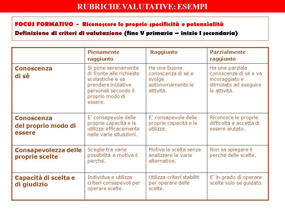 FOCUS FORMATIVO - Riconoscere le proprie specificità e potenzialità Definizione di criteri di valutazione (fine V primaria – inizio I secondaria) Pien