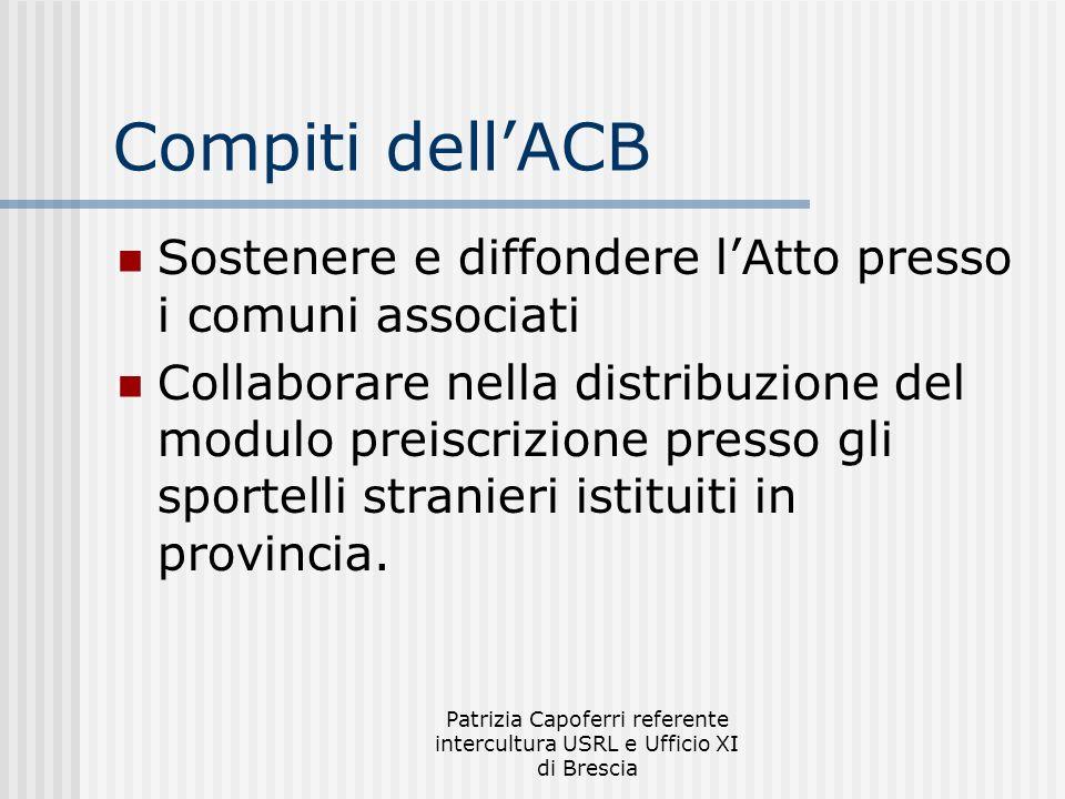 Patrizia Capoferri referente intercultura USRL e Ufficio XI di Brescia Compiti dellACB Sostenere e diffondere lAtto presso i comuni associati Collabor
