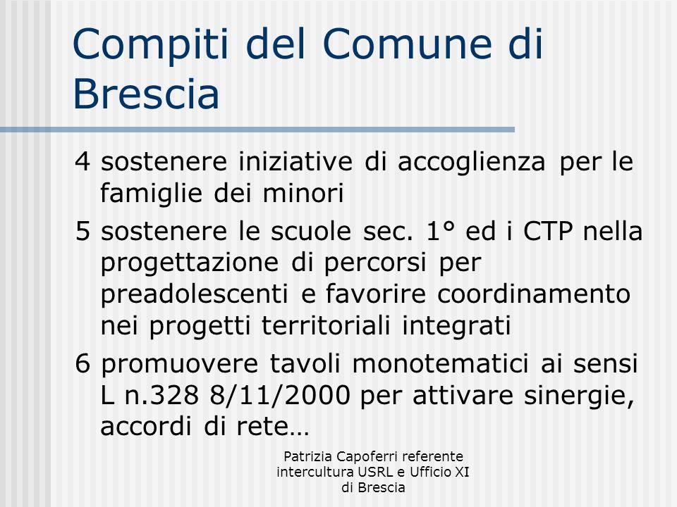Patrizia Capoferri referente intercultura USRL e Ufficio XI di Brescia Compiti del Comune di Brescia 4 sostenere iniziative di accoglienza per le famiglie dei minori 5 sostenere le scuole sec.