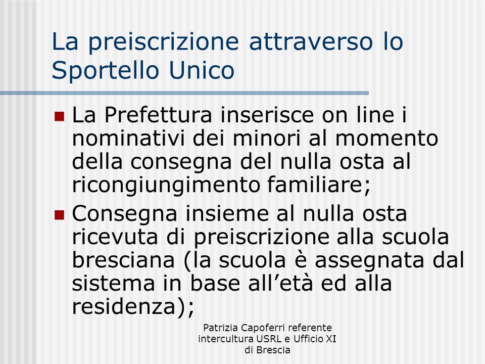 Patrizia Capoferri referente intercultura USRL e Ufficio XI di Brescia La preiscrizione attraverso lo Sportello Unico La Prefettura inserisce on line