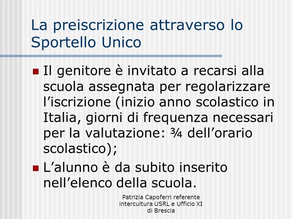 Patrizia Capoferri referente intercultura USRL e Ufficio XI di Brescia La preiscrizione attraverso lo Sportello Unico Il genitore è invitato a recarsi
