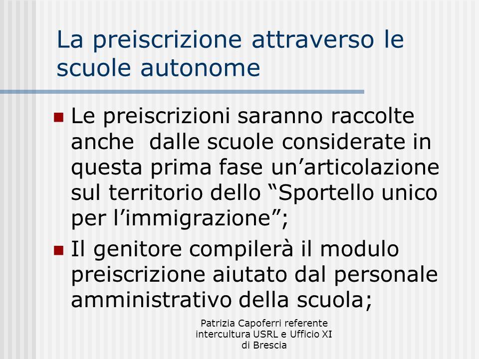 Patrizia Capoferri referente intercultura USRL e Ufficio XI di Brescia La preiscrizione attraverso le scuole autonome Le preiscrizioni saranno raccolt