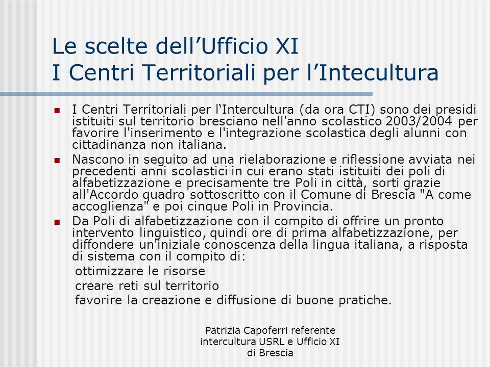 Patrizia Capoferri referente intercultura USRL e Ufficio XI di Brescia Le scelte dellUfficio XI I Centri Territoriali per lIntecultura I Centri Territ
