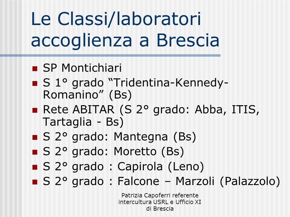 Patrizia Capoferri referente intercultura USRL e Ufficio XI di Brescia Le Classi/laboratori accoglienza a Brescia SP Montichiari S 1° grado Tridentina-Kennedy- Romanino (Bs) Rete ABITAR (S 2° grado: Abba, ITIS, Tartaglia - Bs) S 2° grado: Mantegna (Bs) S 2° grado: Moretto (Bs) S 2° grado : Capirola (Leno) S 2° grado : Falcone – Marzoli (Palazzolo)