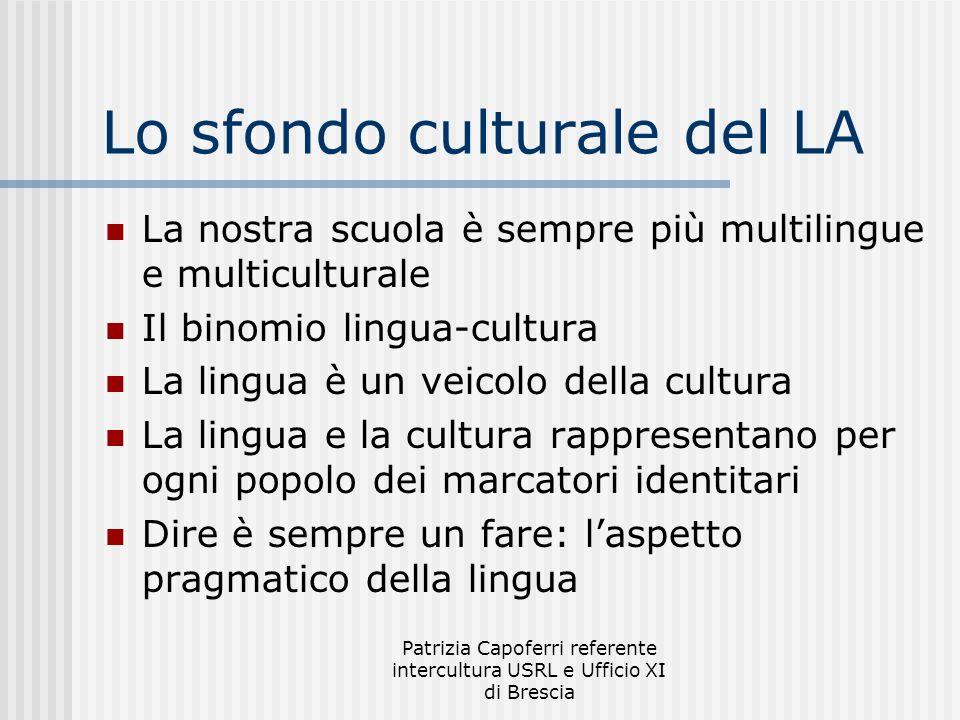 Patrizia Capoferri referente intercultura USRL e Ufficio XI di Brescia Lo sfondo culturale del LA La nostra scuola è sempre più multilingue e multicul