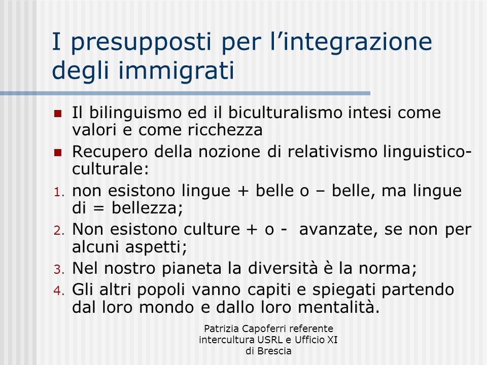 Patrizia Capoferri referente intercultura USRL e Ufficio XI di Brescia I presupposti per lintegrazione degli immigrati Il bilinguismo ed il bicultural