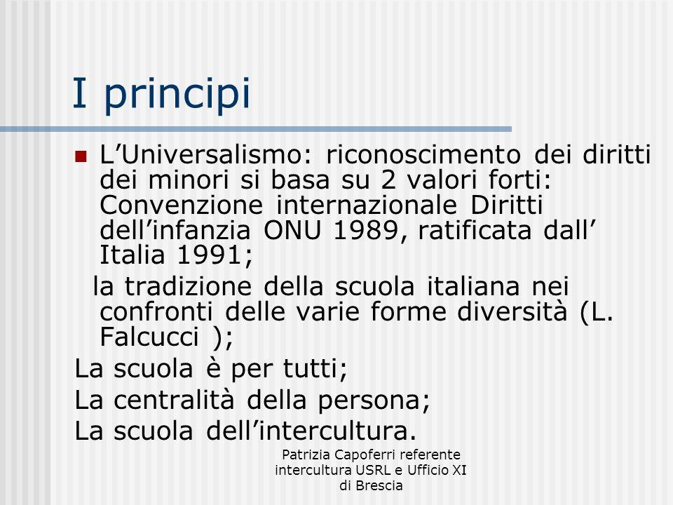Patrizia Capoferri referente intercultura USRL e Ufficio XI di Brescia I principi LUniversalismo: riconoscimento dei diritti dei minori si basa su 2 v