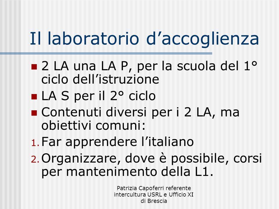 Patrizia Capoferri referente intercultura USRL e Ufficio XI di Brescia Il laboratorio daccoglienza 2 LA una LA P, per la scuola del 1° ciclo dellistruzione LA S per il 2° ciclo Contenuti diversi per i 2 LA, ma obiettivi comuni: 1.