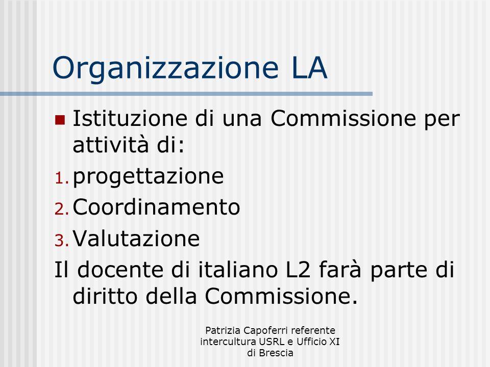 Patrizia Capoferri referente intercultura USRL e Ufficio XI di Brescia Organizzazione LA Istituzione di una Commissione per attività di: 1. progettazi