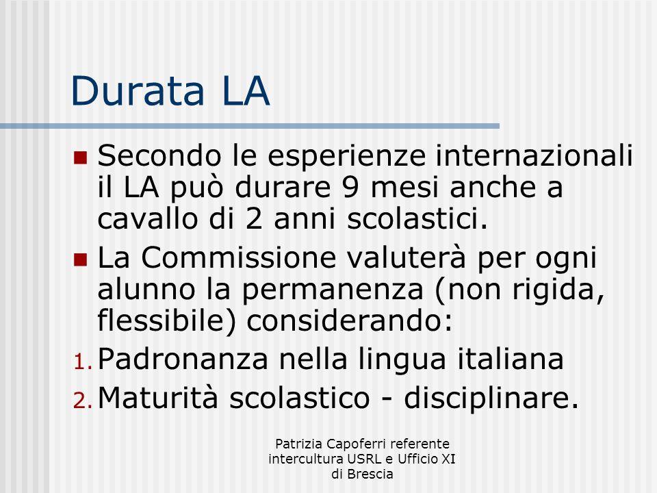 Patrizia Capoferri referente intercultura USRL e Ufficio XI di Brescia Durata LA Secondo le esperienze internazionali il LA può durare 9 mesi anche a cavallo di 2 anni scolastici.