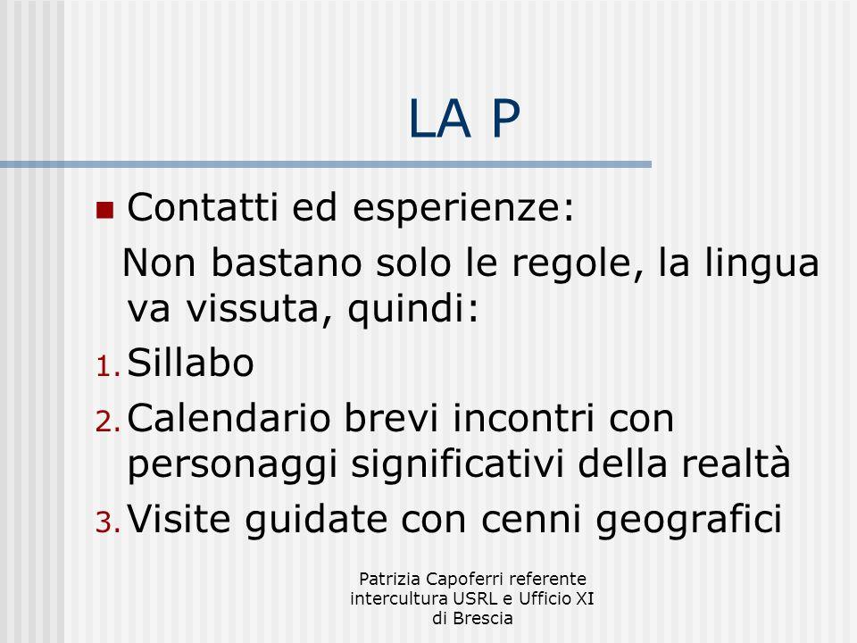 Patrizia Capoferri referente intercultura USRL e Ufficio XI di Brescia LA P Contatti ed esperienze: Non bastano solo le regole, la lingua va vissuta, quindi: 1.