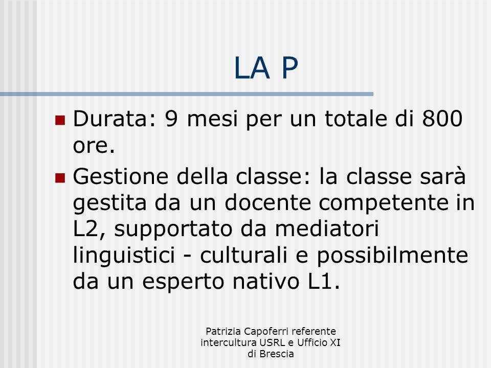Patrizia Capoferri referente intercultura USRL e Ufficio XI di Brescia LA P Durata: 9 mesi per un totale di 800 ore. Gestione della classe: la classe
