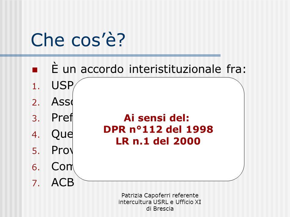 Patrizia Capoferri referente intercultura USRL e Ufficio XI di Brescia Validità E stato sottoscritto il 25 ottobre 2006 E valido sino al 25 ottobre 2011 (5 anni)