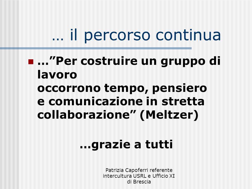 Patrizia Capoferri referente intercultura USRL e Ufficio XI di Brescia … il percorso continua …Per costruire un gruppo di lavoro occorrono tempo, pens