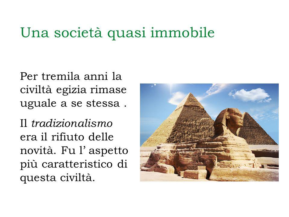 Una società quasi immobile Per tremila anni la civiltà egizia rimase uguale a se stessa. Il tradizionalismo era il rifiuto delle novità. Fu l aspetto