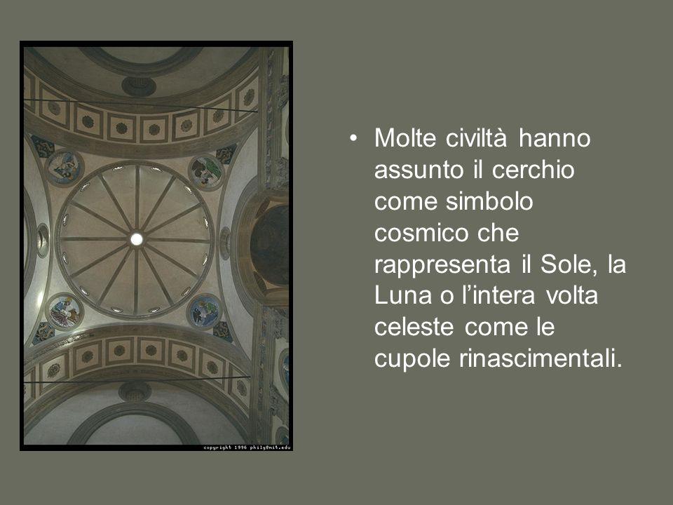 Molte civiltà hanno assunto il cerchio come simbolo cosmico che rappresenta il Sole, la Luna o lintera volta celeste come le cupole rinascimentali.