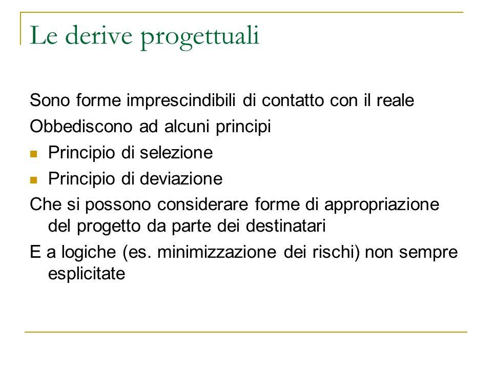Le derive progettuali Sono forme imprescindibili di contatto con il reale Obbediscono ad alcuni principi Principio di selezione Principio di deviazion