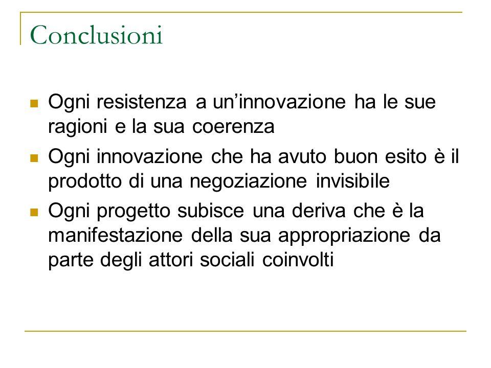 Conclusioni Ogni resistenza a uninnovazione ha le sue ragioni e la sua coerenza Ogni innovazione che ha avuto buon esito è il prodotto di una negoziaz