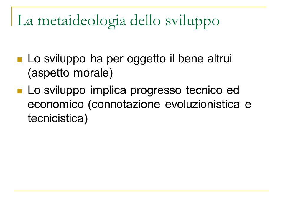 La metaideologia dello sviluppo Lo sviluppo ha per oggetto il bene altrui (aspetto morale) Lo sviluppo implica progresso tecnico ed economico (connota