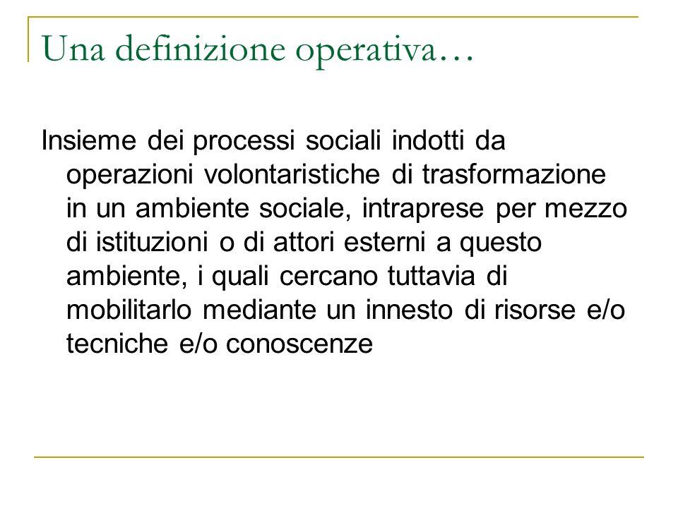 Una definizione operativa… Insieme dei processi sociali indotti da operazioni volontaristiche di trasformazione in un ambiente sociale, intraprese per