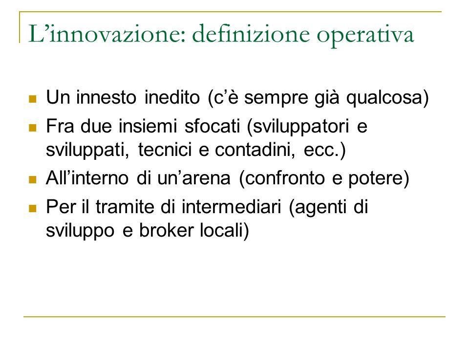 Linnovazione: definizione operativa Un innesto inedito (cè sempre già qualcosa) Fra due insiemi sfocati (sviluppatori e sviluppati, tecnici e contadin