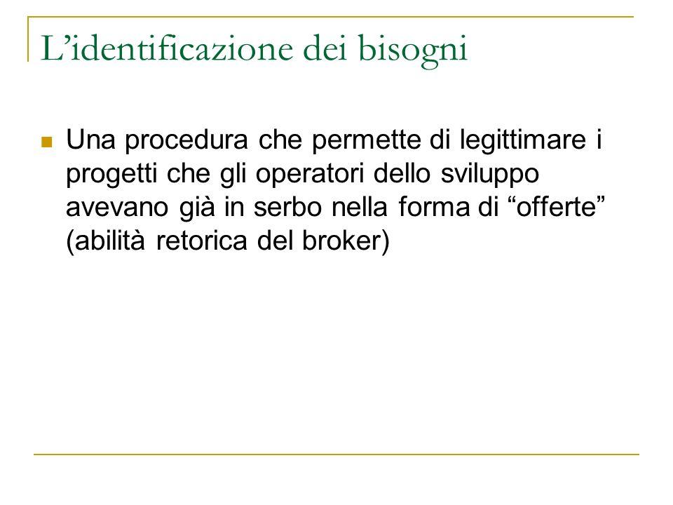 Lidentificazione dei bisogni Una procedura che permette di legittimare i progetti che gli operatori dello sviluppo avevano già in serbo nella forma di