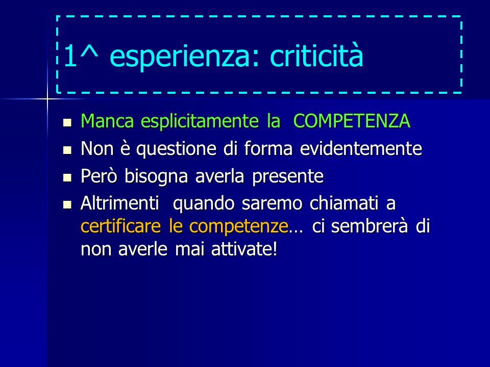 1^ esperienza: criticità Manca esplicitamente la COMPETENZA Manca esplicitamente la COMPETENZA Non è questione di forma evidentemente Non è questione