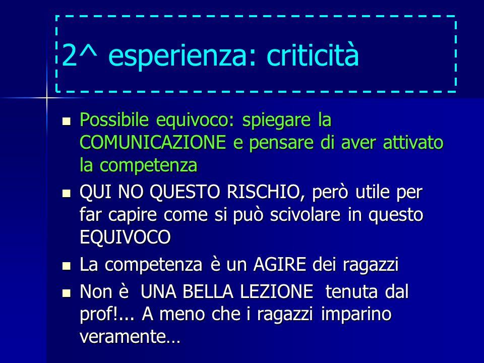 2^ esperienza: criticità Possibile equivoco: spiegare la COMUNICAZIONE e pensare di aver attivato la competenza Possibile equivoco: spiegare la COMUNI