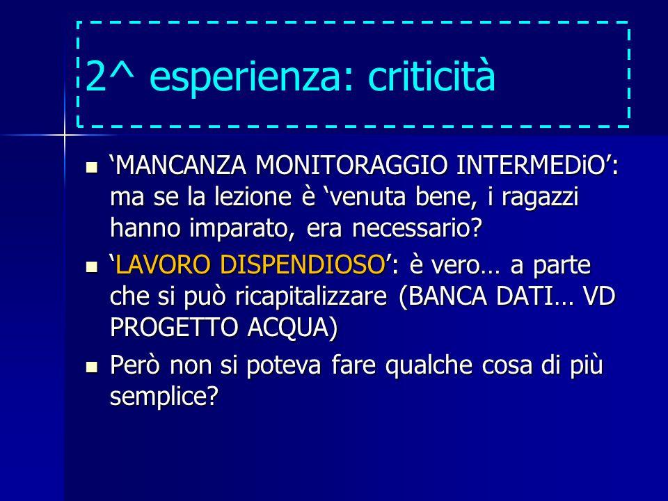 2^ esperienza: criticità MANCANZA MONITORAGGIO INTERMEDiO: ma se la lezione è venuta bene, i ragazzi hanno imparato, era necessario? MANCANZA MONITORA