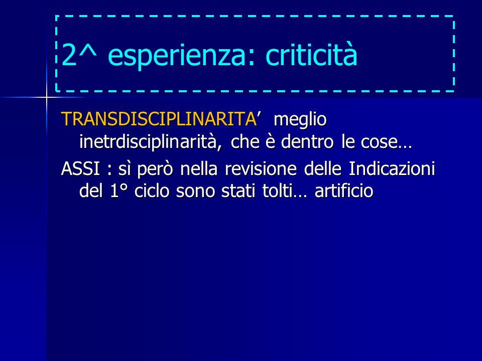 2^ esperienza: criticità TRANSDISCIPLINARITA meglio inetrdisciplinarità, che è dentro le cose… ASSI : sì però nella revisione delle Indicazioni del 1° ciclo sono stati tolti… artificio