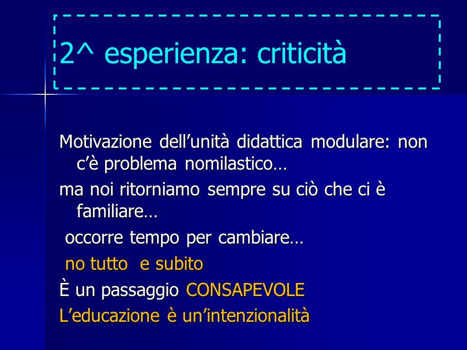 2^ esperienza: criticità Motivazione dellunità didattica modulare: non cè problema nomilastico… ma noi ritorniamo sempre su ciò che ci è familiare… oc