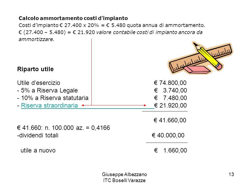 Giuseppe Albezzano ITC Boselli Varazze 13 Calcolo ammortamento costi dimpianto Costi dimpianto 27.400 x 20% = 5.480 quota annua di ammortamento. (27.4