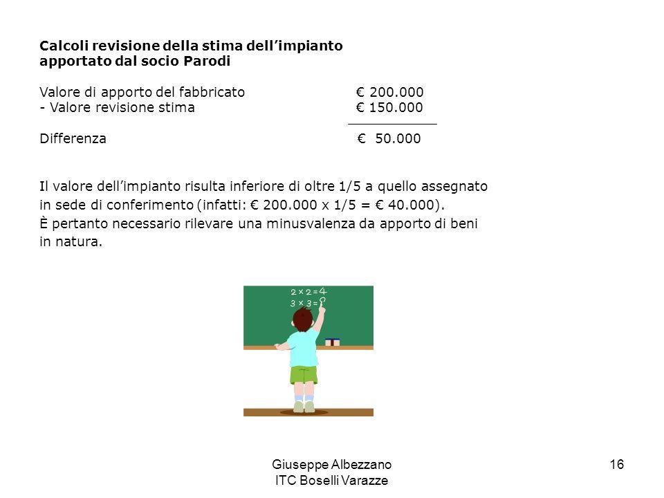Giuseppe Albezzano ITC Boselli Varazze 16 Calcoli revisione della stima dellimpianto apportato dal socio Parodi Valore di apporto del fabbricato 200.0