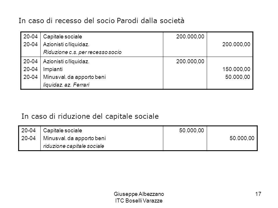 Giuseppe Albezzano ITC Boselli Varazze 17 In caso di recesso del socio Parodi dalla società 20-04 Capitale sociale Azionisti c/liquidaz. Riduzione c.s