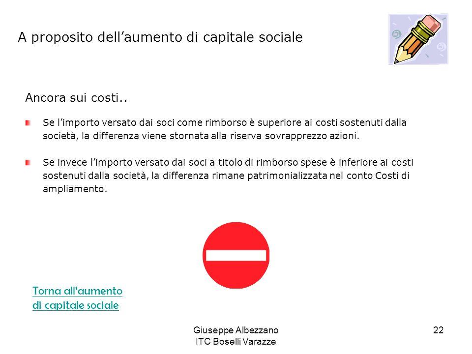 Giuseppe Albezzano ITC Boselli Varazze 22 A proposito dellaumento di capitale sociale Ancora sui costi.. Se limporto versato dai soci come rimborso è