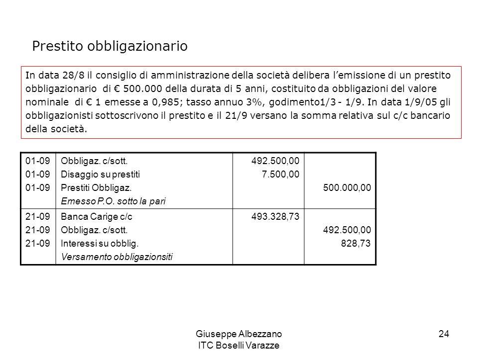 Giuseppe Albezzano ITC Boselli Varazze 24 Prestito obbligazionario In data 28/8 il consiglio di amministrazione della società delibera lemissione di u