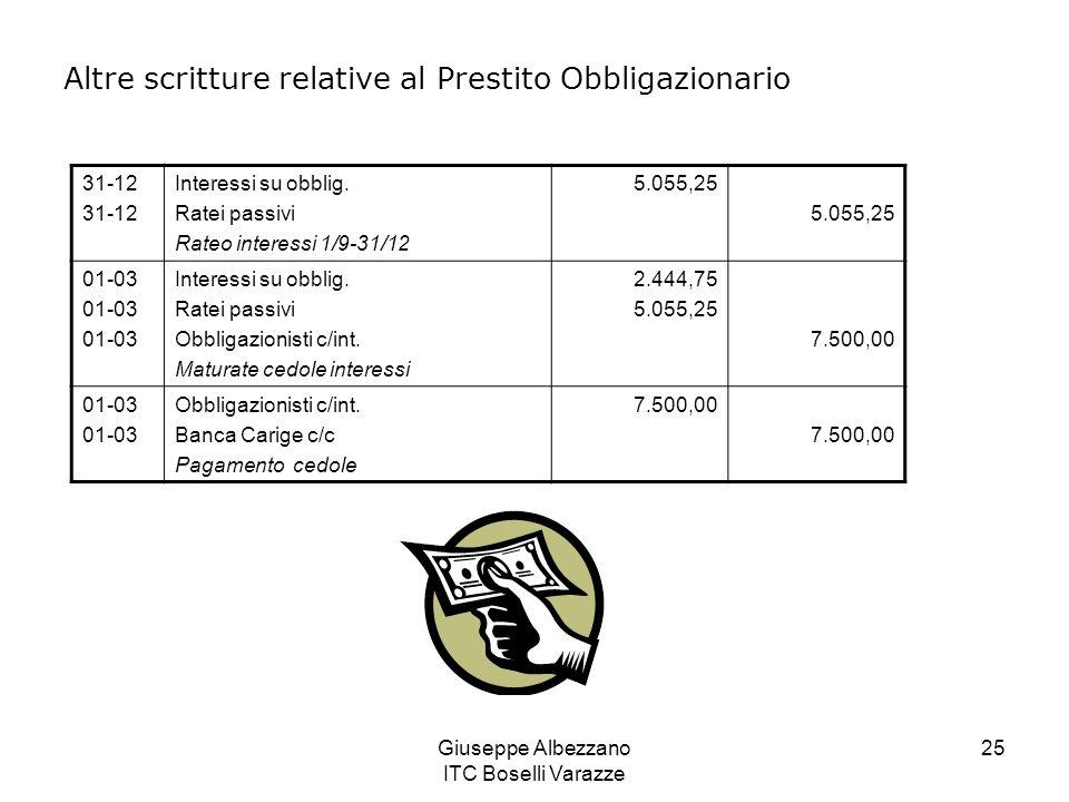 Giuseppe Albezzano ITC Boselli Varazze 25 Altre scritture relative al Prestito Obbligazionario 31-12 Interessi su obblig. Ratei passivi Rateo interess