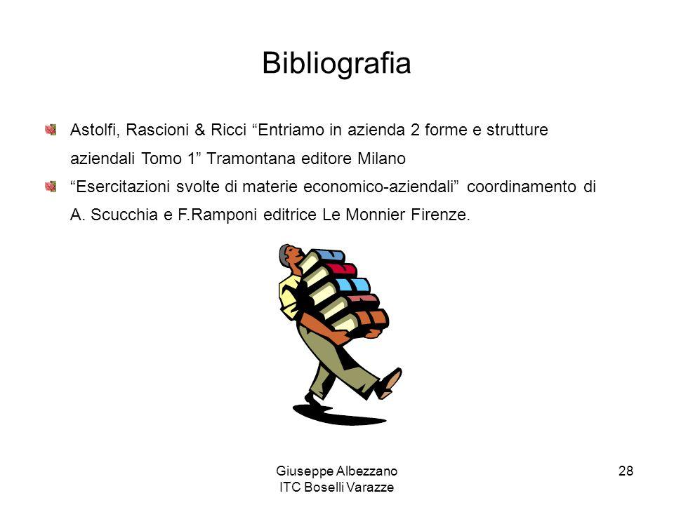 Giuseppe Albezzano ITC Boselli Varazze 28 Bibliografia Astolfi, Rascioni & Ricci Entriamo in azienda 2 forme e strutture aziendali Tomo 1 Tramontana e