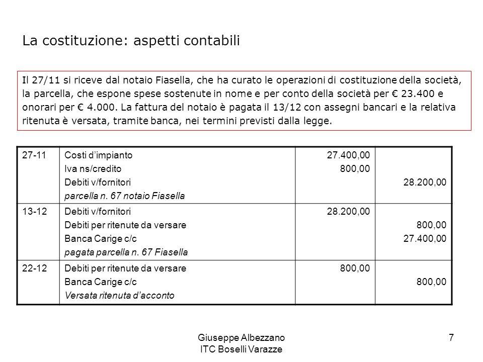 Giuseppe Albezzano ITC Boselli Varazze 8 I calcoli relativi alla parcella del notaio Fiasella Onorario 4.000,00 + IVA 20% su onorario 800,00 4.800,00 + spese documentate 23.400,00 Totale fattura 28.200,00 - Ritenuta su onorario (20% su 4.000) 800,00 Netto da pagare 27.400,00