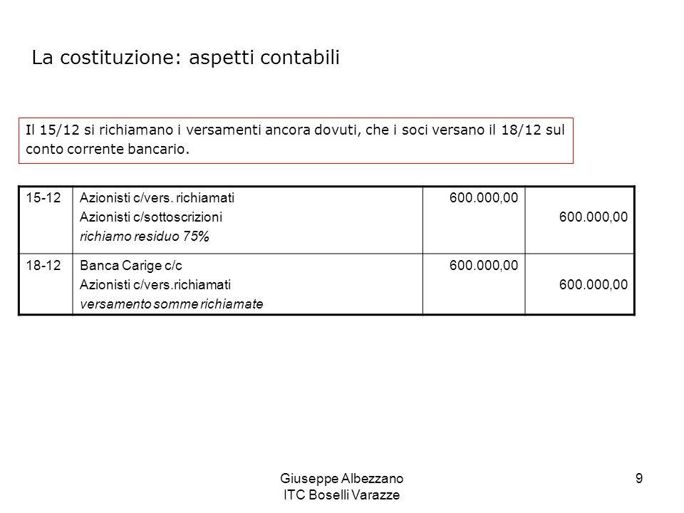 Giuseppe Albezzano ITC Boselli Varazze 9 Il 15/12 si richiamano i versamenti ancora dovuti, che i soci versano il 18/12 sul conto corrente bancario. 1