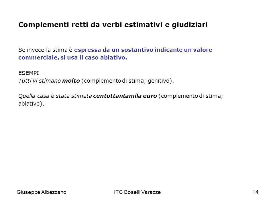 Giuseppe AlbezzanoITC Boselli Varazze14 Complementi retti da verbi estimativi e giudiziari Se invece la stima è espressa da un sostantivo indicante un