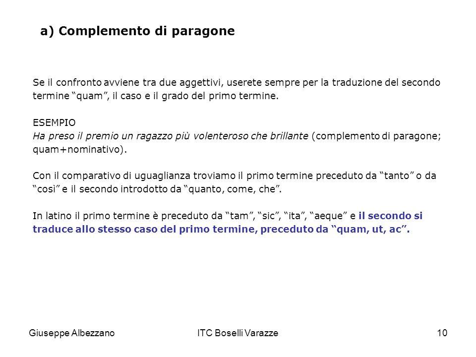 Giuseppe AlbezzanoITC Boselli Varazze10 a) Complemento di paragone Se il confronto avviene tra due aggettivi, userete sempre per la traduzione del sec