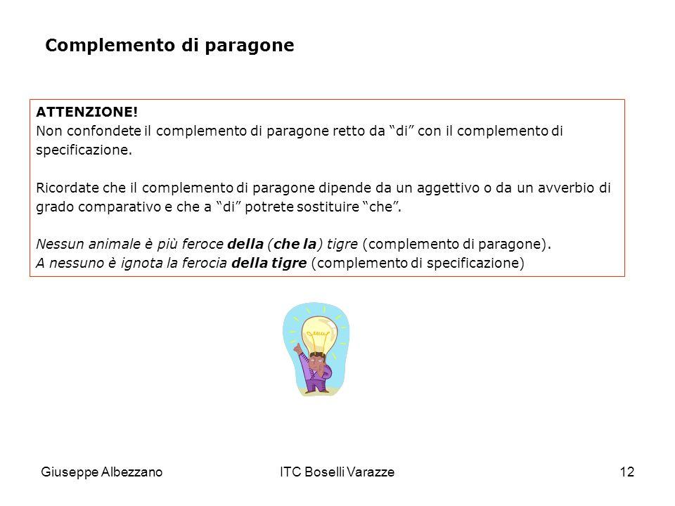 Giuseppe AlbezzanoITC Boselli Varazze12 ATTENZIONE! Non confondete il complemento di paragone retto da di con il complemento di specificazione. Ricord