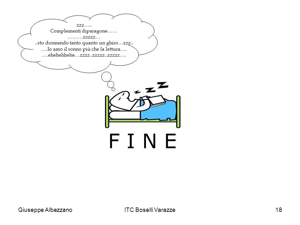 Giuseppe AlbezzanoITC Boselli Varazze18 F I N E zzz….. Complementi diparagone…… ………zzzzz…..sto dormendo tanto quanto un ghiro…zzz.. ….Io amo il sonno