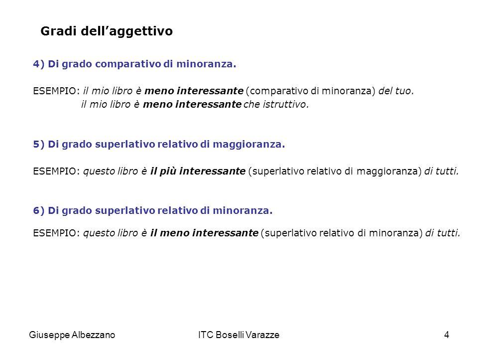 Giuseppe AlbezzanoITC Boselli Varazze4 Gradi dellaggettivo 4) Di grado comparativo di minoranza. ESEMPIO: il mio libro è meno interessante (comparativ