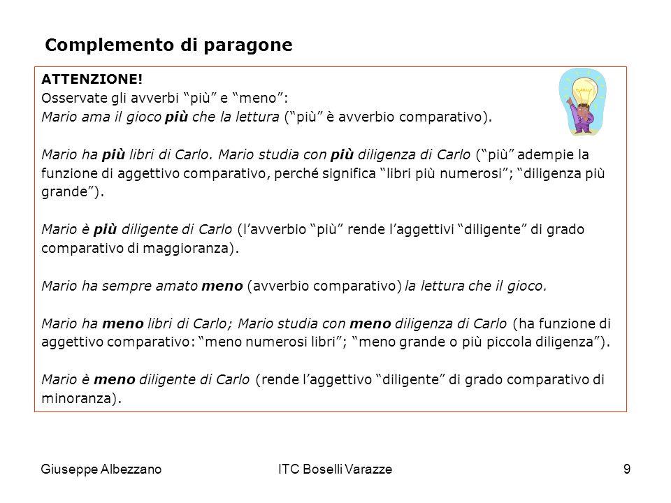 Giuseppe AlbezzanoITC Boselli Varazze9 ATTENZIONE! Osservate gli avverbi più e meno: Mario ama il gioco più che la lettura (più è avverbio comparativo